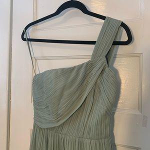J Crew Light Mint Bridesmaids Gown One-shoulder
